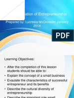 Small Business Management - Unit 1 -The Foundation of Entrepreneurship