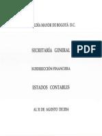 Estados Financieros - Corte a 31 de Agosto 2014