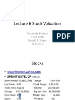 4330 Lecture 06 F10 Stock Valuation