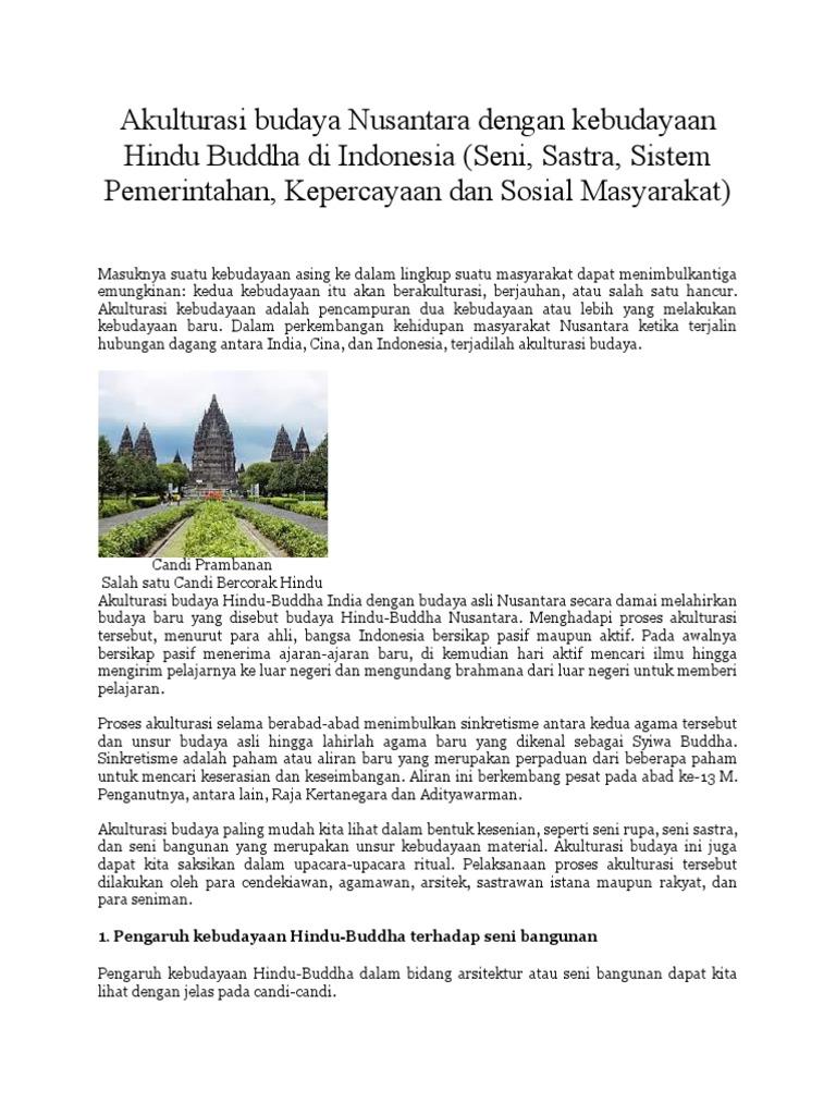 Akulturasi Budaya Nusantara Dengan Kebudayaan Hindu Buddha Di