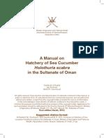 A Manual on Hatchery of Sea Cucumber Holothuria Scabra