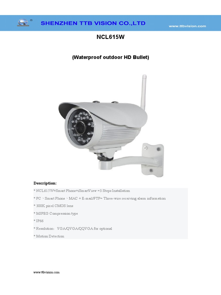Wireless Ip Camera Ncl615w Specification