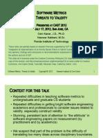 Metrics Validity Lecture 2012
