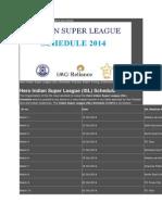 India Super Legue Schedule
