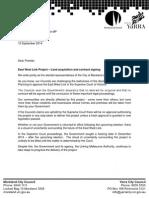 Letter to Premier Napthine Regarding East West Link