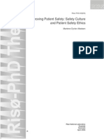 Improving Patient Safety, Safety Culture