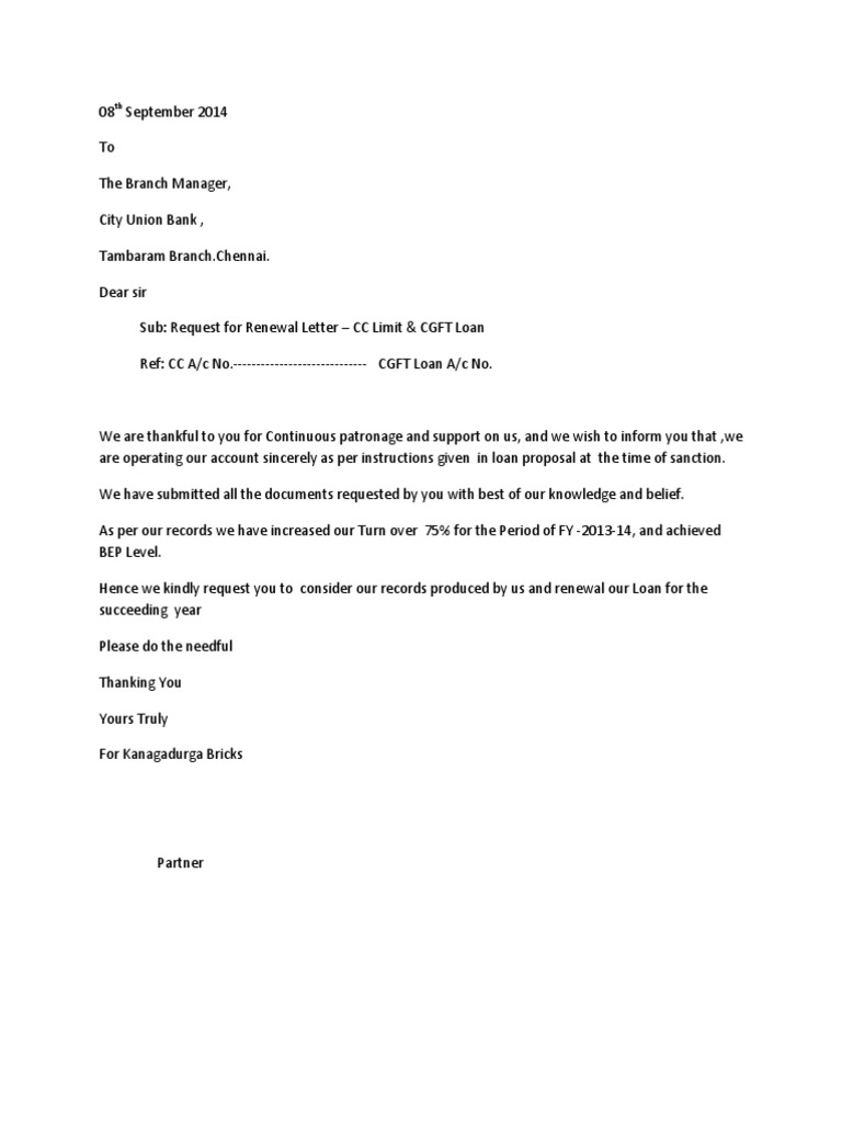 Bank renewal letter accountancy and auditing economies for Bill submission covering letter