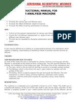 Manual for Cam Analysis Machine
