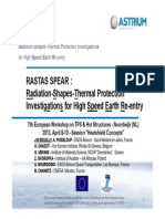 Rastas Spear Radiation Shapes Thermal Protection Investigations for High Speed Earth Re Entry