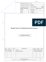Weight Table for Piping Mechanical Analysis