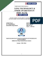 Changing Technology & Customre Awareness of HDFC BANK