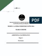 Trial Penang 2014 SPM Matematik Tambahan K1 K2 Skema [SCAN]