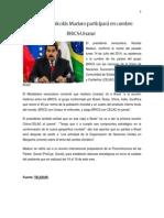 Segundo Trabajo, II Trimestre. Presidente Nicolás Maduro Participará en Cumbre BRICS