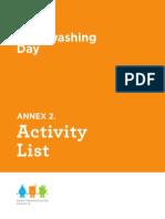Global Handwashing Day Activity List