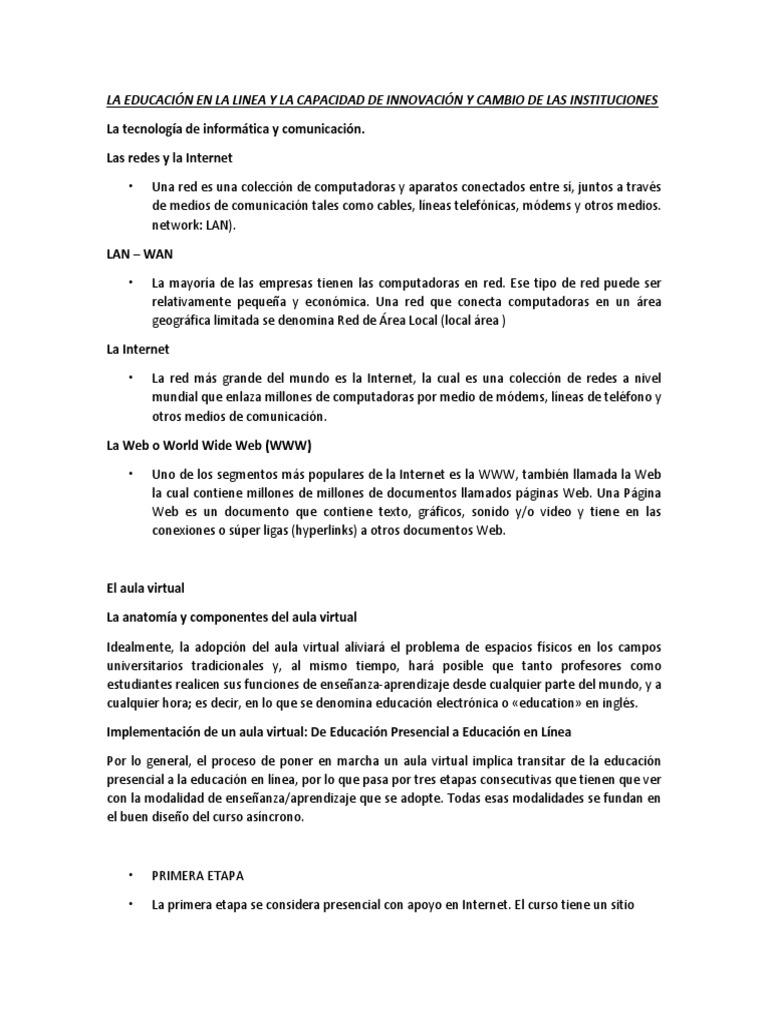 La Educación en La Linea y La Capacidad de Innovación y Cambio de ...
