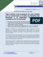 Comunicat de Premsa President Alberto Fabra - Dia Policía de la Generalitat