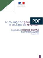 «Le courage de gouverner, le courage de réformer» - Discours de politique générale de Manuel Valls