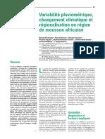 Variabilité Pluviométrique, Changement Climatique Et Régionalisation en Région de Mousson Africaine_meteo_2012_SP_41