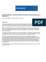 State Police Partners With DEA in National Prescription Drug Take-Back Day on September 27