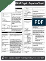 MCAT Prep Physics Equation Sheet