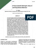 Casein Cross-linked Polyacrylamide Hydrogels Study Of