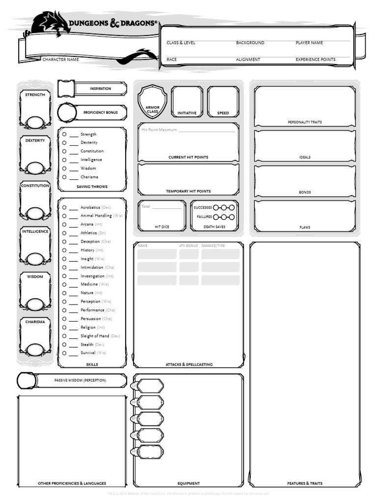 dungeons dragons 5th edition character sheet 3 pages. Black Bedroom Furniture Sets. Home Design Ideas