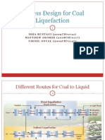 Process Design for Coal Liquefaction