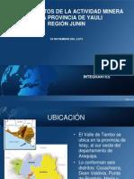 Conocimientos de La Actividad Minera en La Provincia de Yauli Junin
