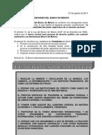 Funciones Del Banco de México.- 27 Ago 14