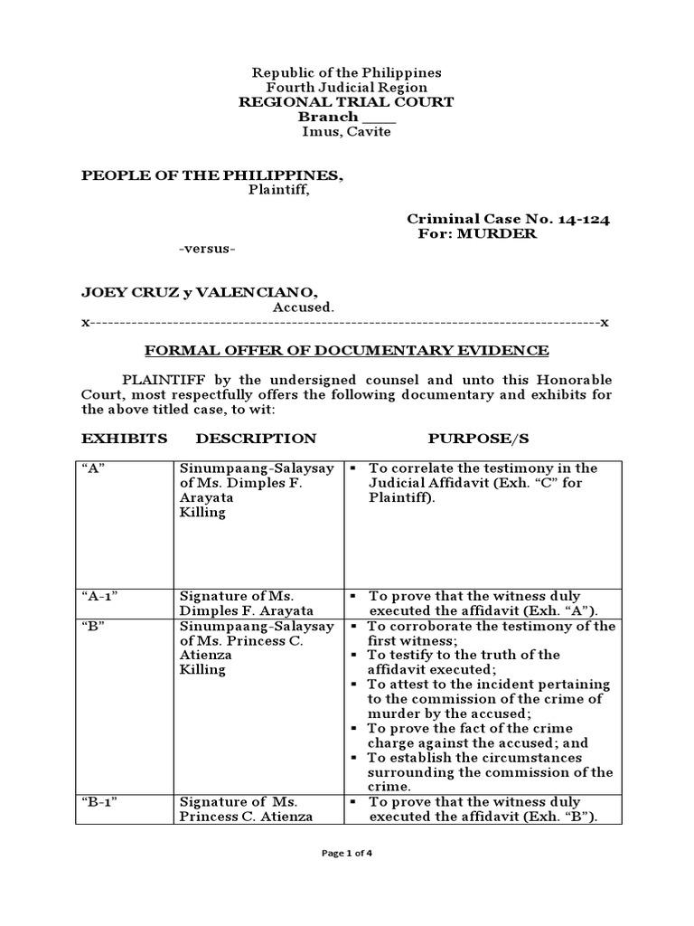 Sample Formal Offer Prosecution Witness Testimony