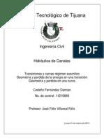 Tarea de Hidraulica (Transiciones y Curvas (Canales))