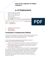 Sample Legal Notice to the Employer for Illegal Termination of Employee