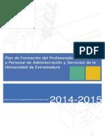 Plan de Formación Del PDI y El PAS de La UEx 2014-2015