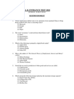 DU LLB Entrance Exam Question Paper 2010