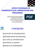 OPTIMIZATIONTECHNIQUESINPHARMACEUTICALFORMULATIONANDPROCESSING