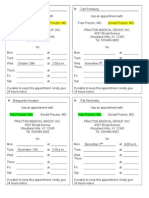 form 12 - appointment remind cards