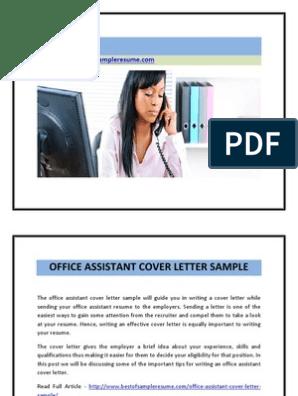 Office Assistant Cover Letter Sample | Résumé | Labour