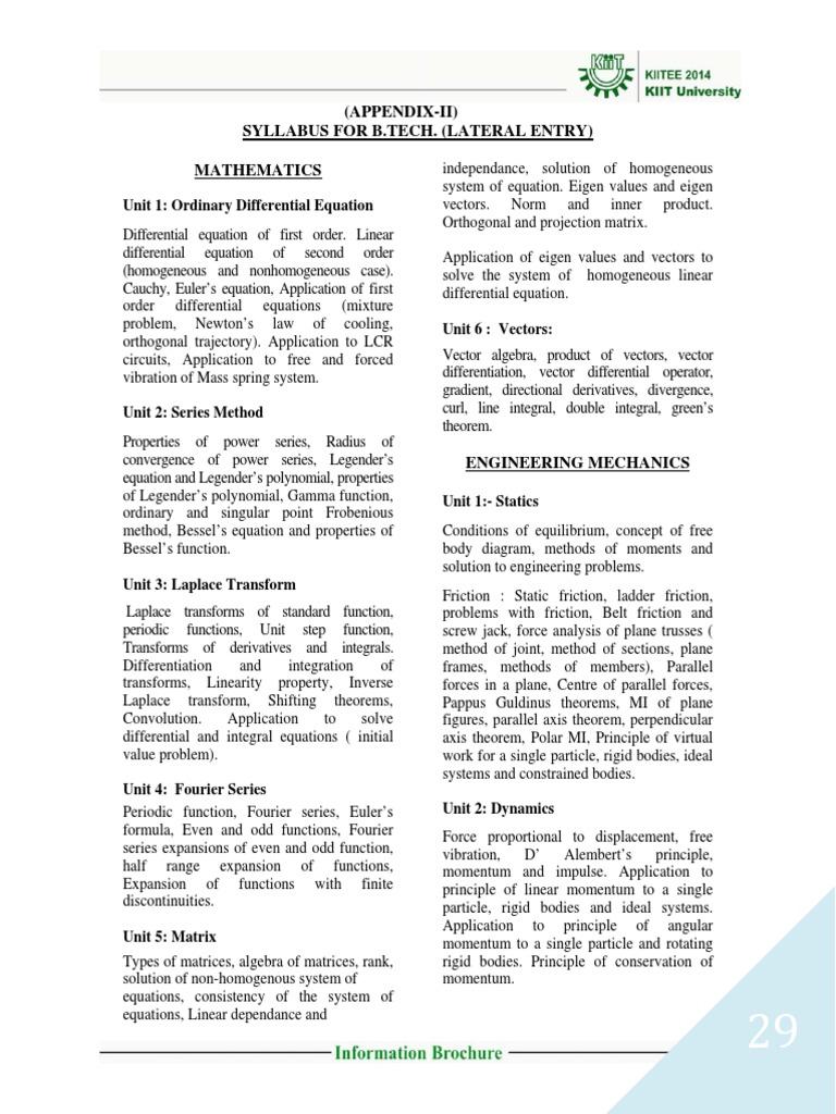 KIITEE Syllabus 3   Force   Matrix (Mathematics)
