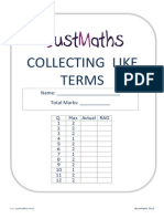 Collecting Like Terms - EXAM QUESTIONS