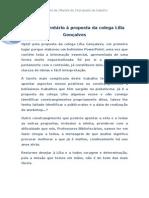 Breve comentário à proposta da colega Lília Gonçalves