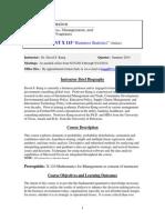 MGMNT X115 Business Statistics(Online) Summer 2014