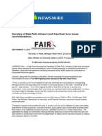 Secretary of State Ruth Johnson's Anti-fraud Task Force Issues Recommendations