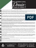 2014. Convocatoria Premio Internacional de Poesía Ciudad de Mérida 2014.