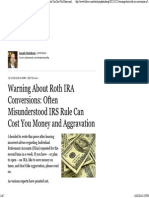 Warning About Roth IRA Conversions_ Often Misunderstood IRS Rule Can Cost You Money and Aggravation - Forbes