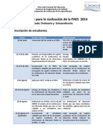 Fechas Claves Paes 2014