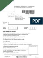 IGCSE MATHS 580_2005_qp_1