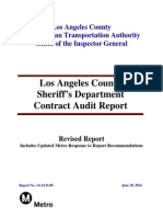 Los Angeles County Sheriff's Department Contract Audit Report May 2014 Revised Report includes updated Metro response to report recommendations dated Sept. 5, 2014