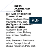 1. Business Transaction and Documents (a) Type of Business Transactions