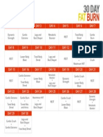 30 Day Fat Burn Workout Calendar