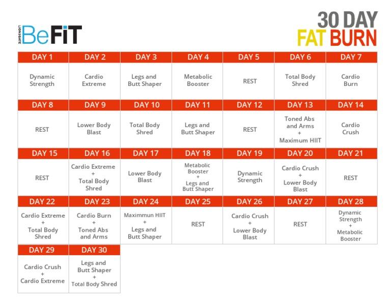 30 de zi fat burn befit calendar eazy e pierdeți în greutate